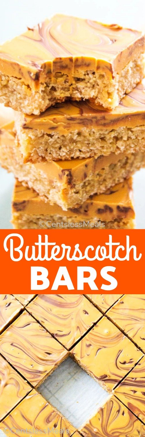 Butterscotch bars cut into squares with a bite taken out of one and a title