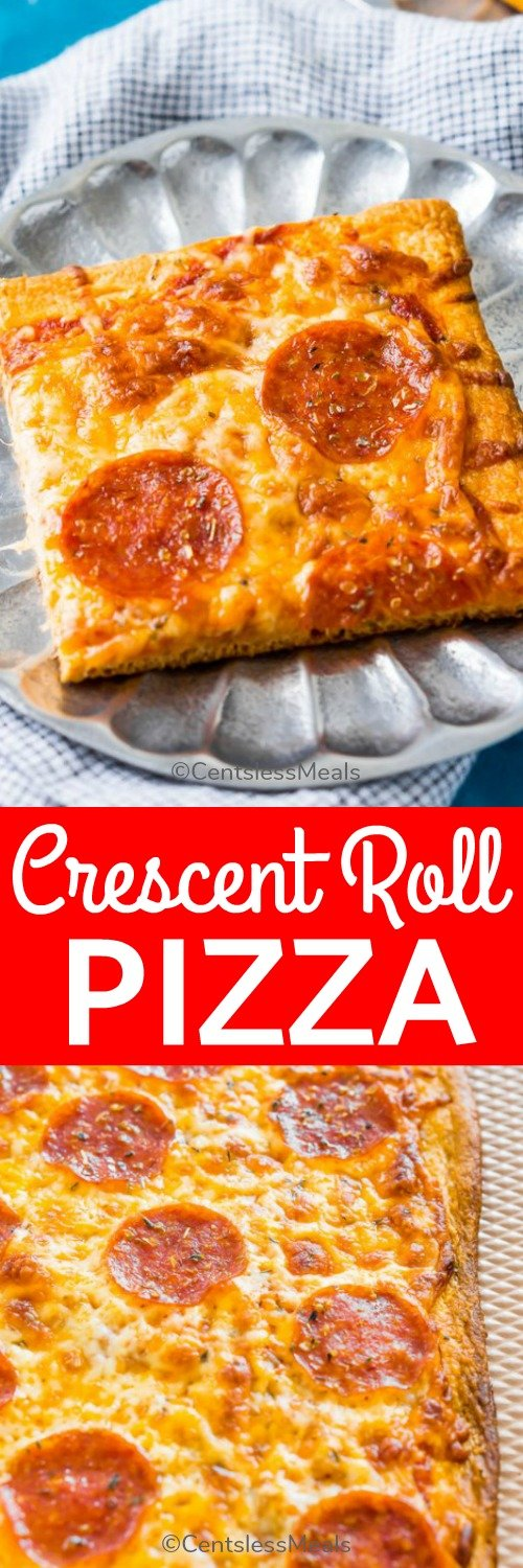 Crescent roll pizza on a plate with writing