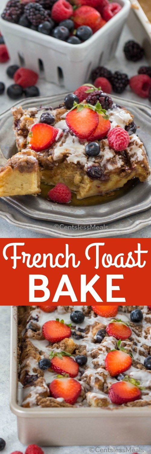 French Toast Bake is tasty, full of cinnamon flavor and perfect for a crowd. Made with brown sugar, a delicious crumb topping and juicy fresh blueberries. #centslessmeals #frenchtoast #breakfast #brunch #easyrecipe #crumbtopping #overnight