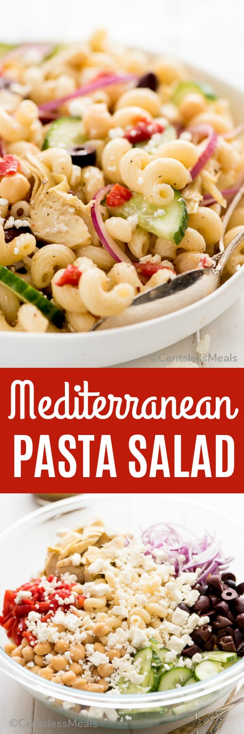 Mediterranean Pasta Salad is a healthy, cool, and refreshing dish tossed in a simple Greek vinaigrette. It's the perfect meal for a hot summer day or to bring as a side to your next barbecue. #centslessmeals #easyrecipe #fetarecipe #pastasalad #easylunches #simplemeals #simplecoldpasta
