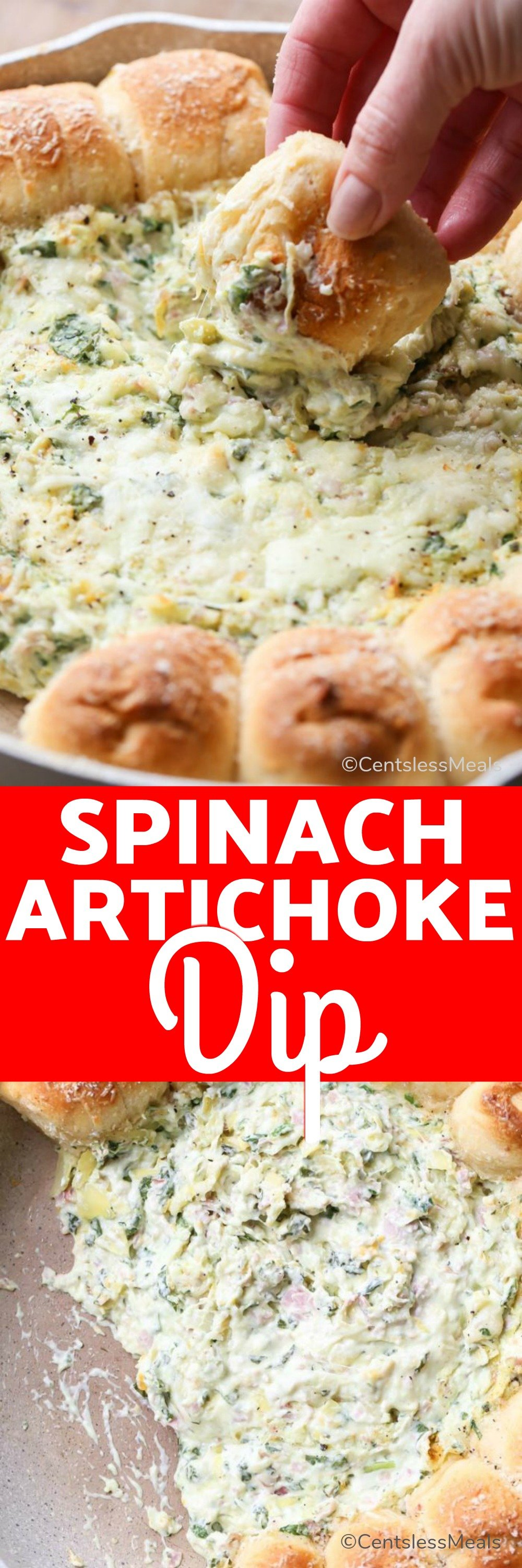 Pull-Apart Crescents with Spinach Artichoke Dip is an easy one-skillet dip recipe that your family will love! #centslessmeals #spinachartichokedip #dip #hamdip #artichokedip #cheesedip #hotdip #appetizer #partydip #partyfood