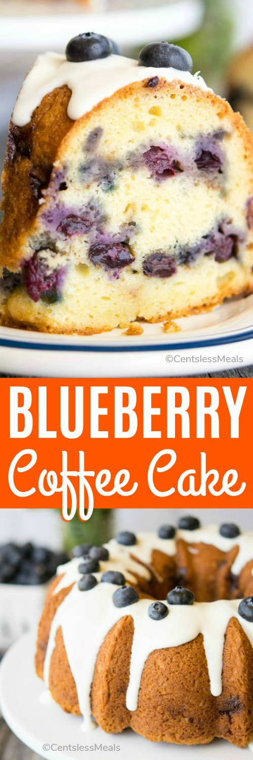Blueberry Coffee Cake is a super simple and quick recipe that results in a moist and delicious cake that you can serve any time of the day. #centslessmeals #easyrecipe #bestrecipe #bundtrecipe #blueberryrecipe #quickrecipe #moistrecipe