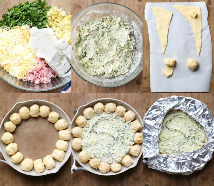 Step by step photos showing how to prepare Spinach Artichoke Dip with pull-apart bread.