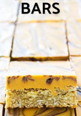 Butterscotch bars with writing