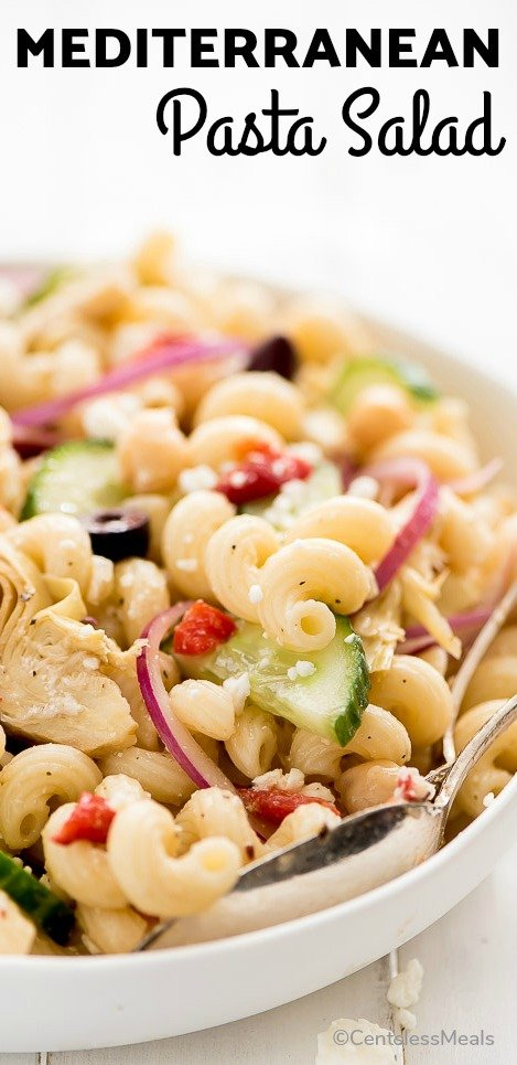 A bowl of Mediterranean Pasta Salad