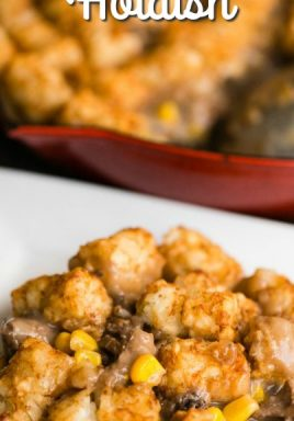 Tater tot hotdish on a plate with a title