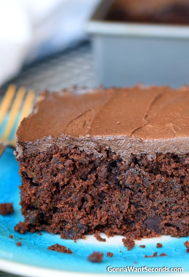 Chocolate Zucchini Cake on a blue plate