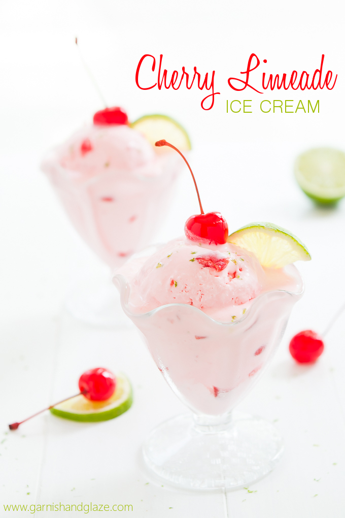 Cherry limeade ice cream in bowls
