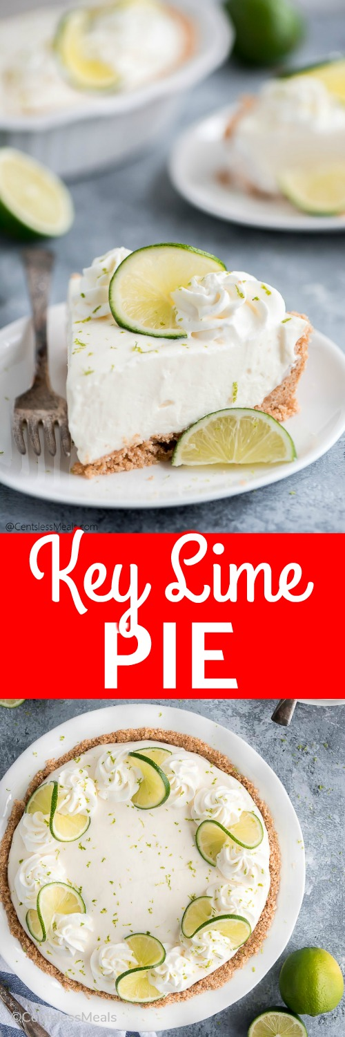 Key lime pie on a pie plate and a piece of key lime pie on a plate with a title