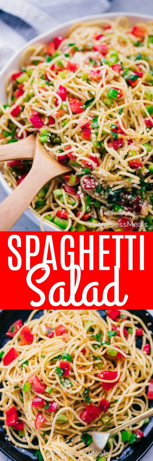 Spaghetti salad in a bowl with wooden utensils and a title