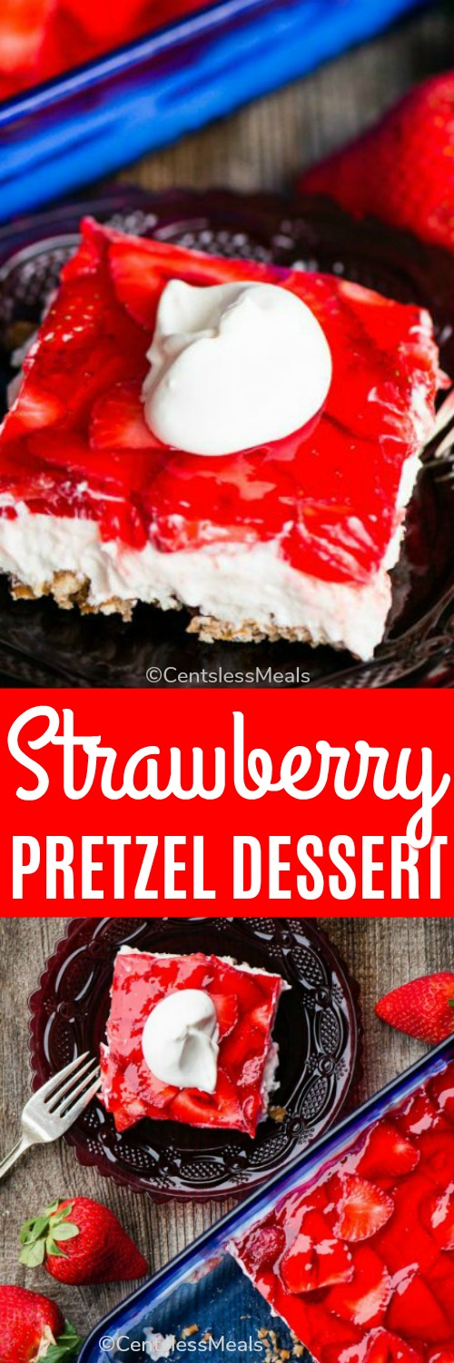 Strawberry Pretzel Salad is the ultimate summer dessert, especially when you're looking for something sweet to take to potlucks! This tasty treat consists of a sweet pretzel crust, topped by a creamy layer, and finished off with a layer of fresh strawberries set in strawberry jello. #centslessmeals #easyrecipe #strawberrydessert #summertreat #jellodessert #potluckrecipe #partytreat