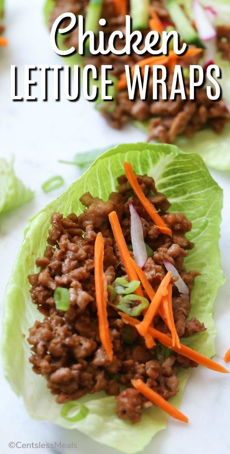 Chicken Lettuce Wraps on a serving platter