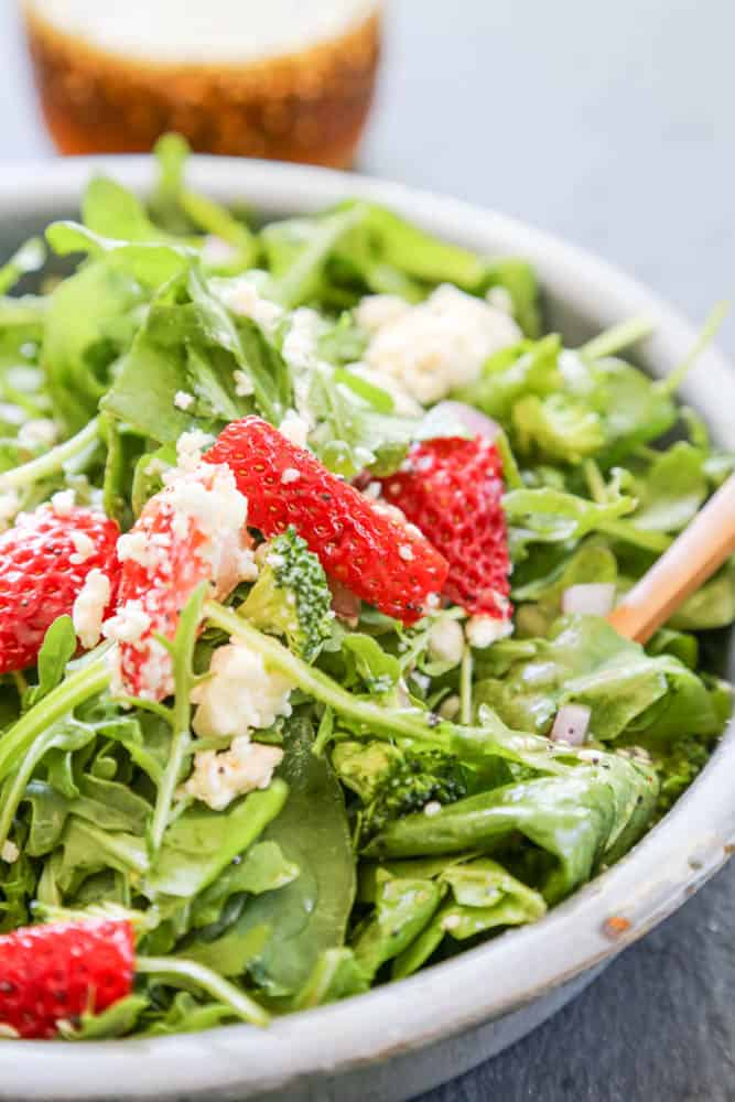 Spinach Strawberry Salad served in a bowl.