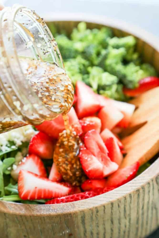 Spinach Strawberry Salad with poppy seed dressing.