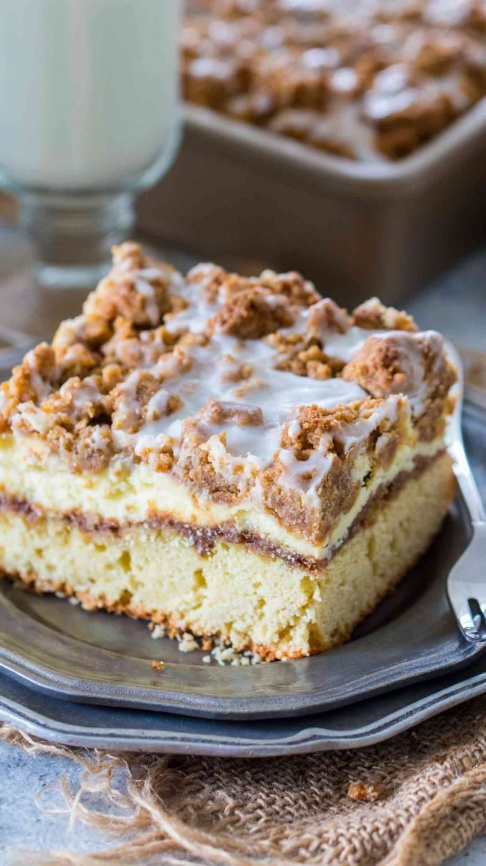 Best Ever Coffee Cake on a plate with a fork