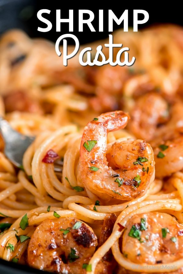 Bang Bang Shrimp Pasta is a super quick and delicious dish that is perfect for busy nights. In just 20 minutes you'll be sitting down to a creamy satisfying dinner. #centslessmeals #shrimpdinner #pastadinner #easydinner #easyrecipe #bestrecipe #spicyshrimp #seafoodrecipe