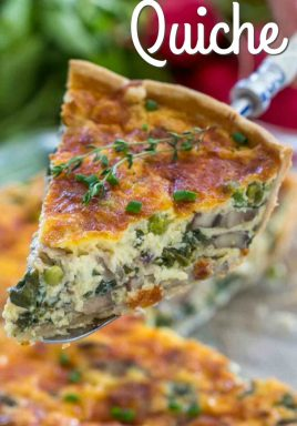 Spinach quiche on a pie fork with a title