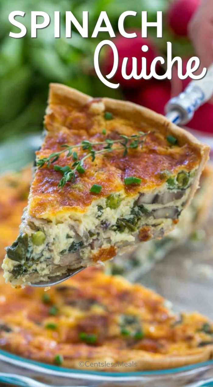 This Spinach Quiche Recipe is buttery, creamy and can be loaded with your favorite veggies. Perfect for a delicious make ahead breakfast and is super for brunch! #centslessmeals #easybrunch #easybreakfast #easyrecipe #makeahead #freshbreakfast #simplebreakfast #brunchideas #frozenrecipe