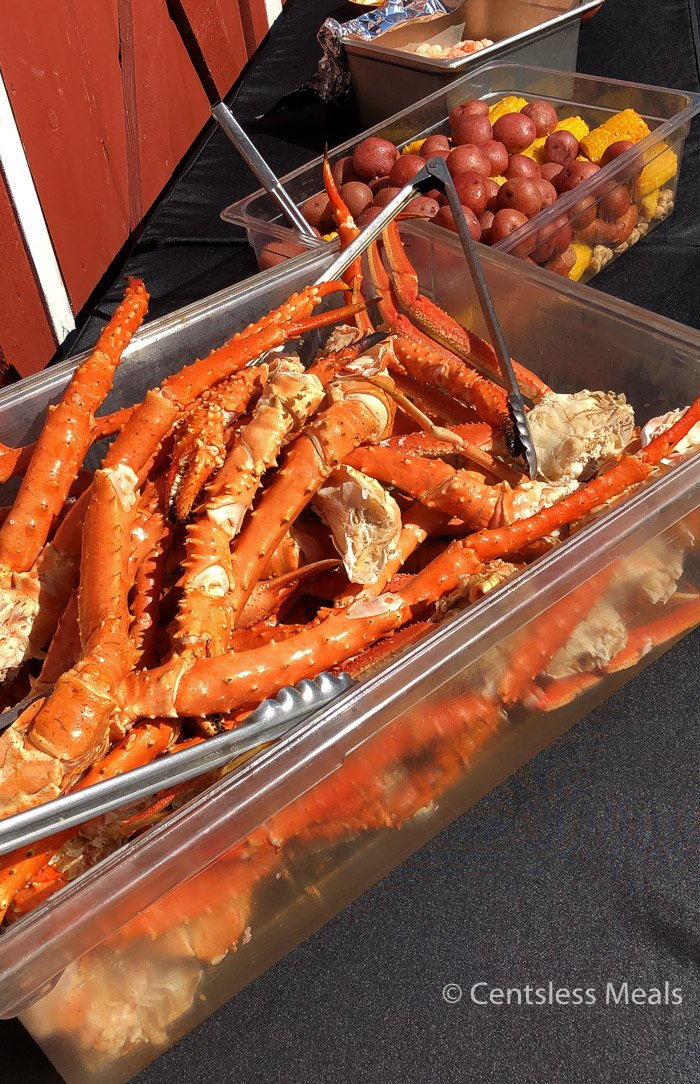 Crab legs in a big container