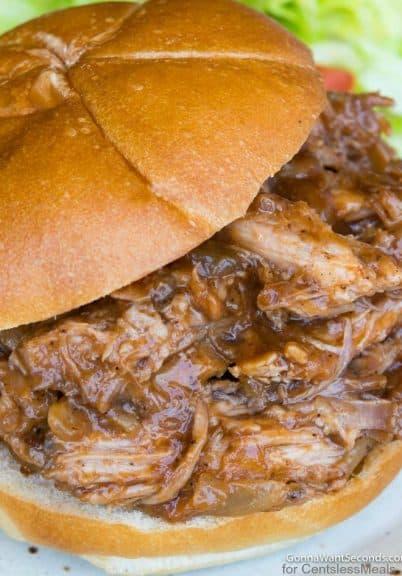 Close up of Crockpot Pulled Pork