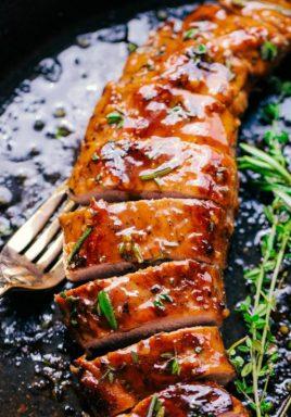 Roasted Pork Tenderloin in a cast iron pan