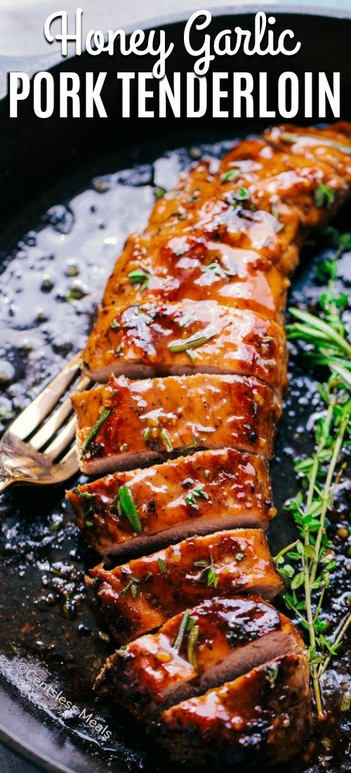 Honey Garlic Roasted Pork Tenderloin is the perfect weeknight meal. Seasoned with an amazing rub and then topped with a sensational honey garlic sauce, the taste will melt in your mouth. #centslessmeals #easyrecipe #dryrub #withsauce #simplerecipe #porktenderloin #skilletmeals #tenderloinrecipes #porkrecipes #honeygarlic