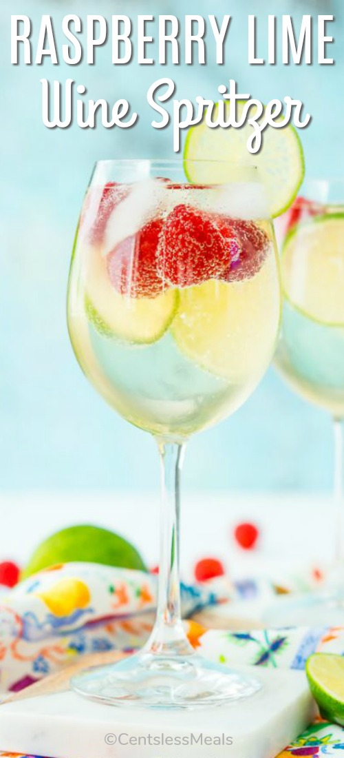 A tall glass of Raspberry Lime Wine Spritzer