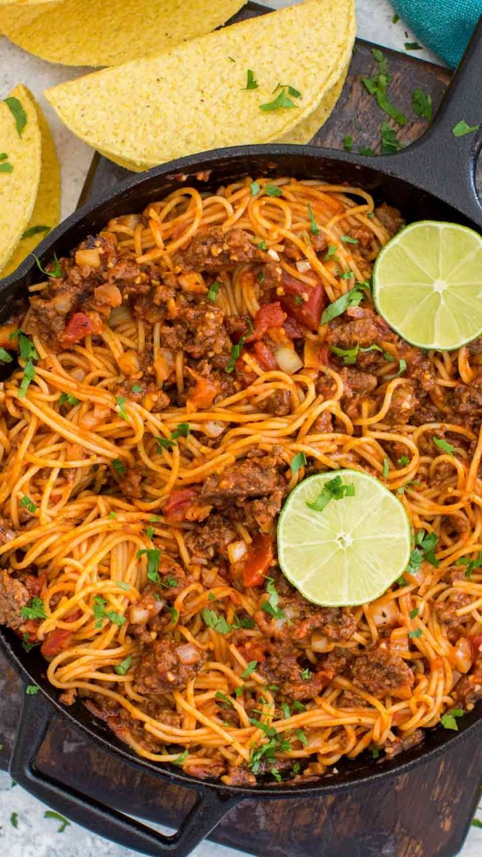 Spaghetti Tacos in a skillet