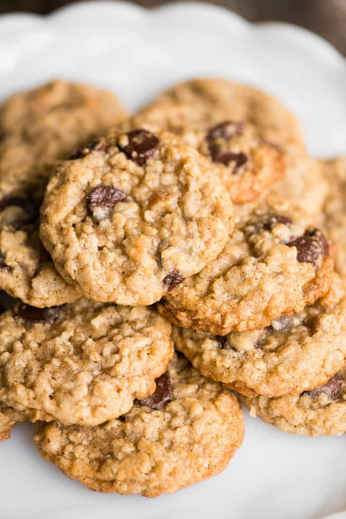 Stack of oatmeal chocolate chip cookies on plate