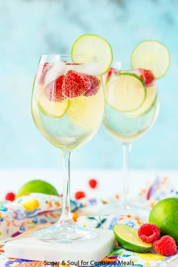 Two glasses of Raspberry Lime Wine Spritzer