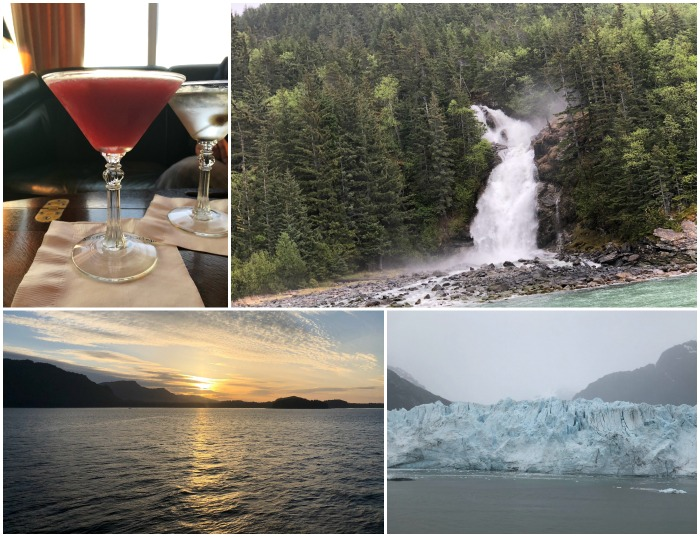 A collage of pictures; a Cosmo cocktail, a waterfall, a sunset over the water and an iceberg