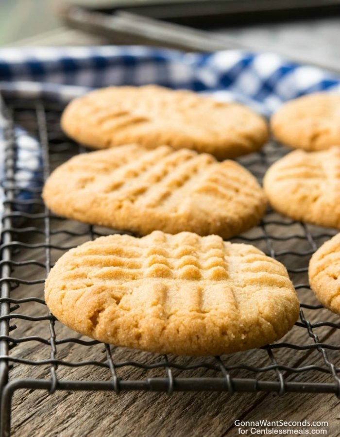 Peanut Butter Cookies cooling on a wire baking rack