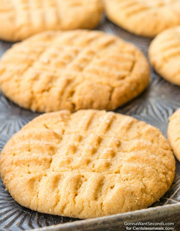 Peanut Butter Cookies freshly baked on a baking sheet