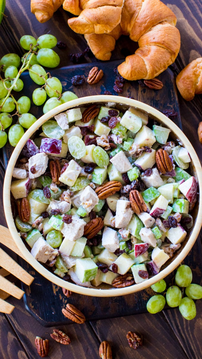 Chicken Waldorf Salad is the perfect combination of sweet and savory. Crispy apples, juicy grapes and crunchy nuts are combined to create the perfect bite!
