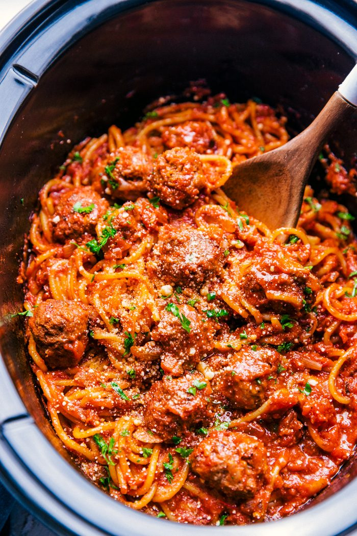 Crock Pot Spaghetti and Meatballs prepared in a crock pot