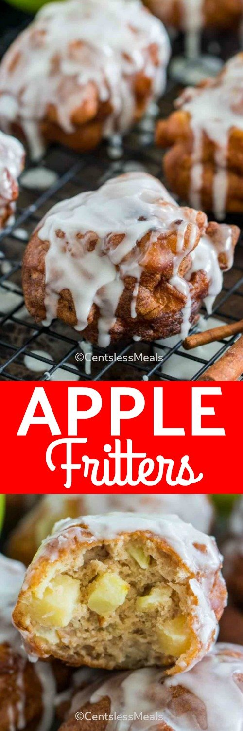 Apple fritters with icing and a title