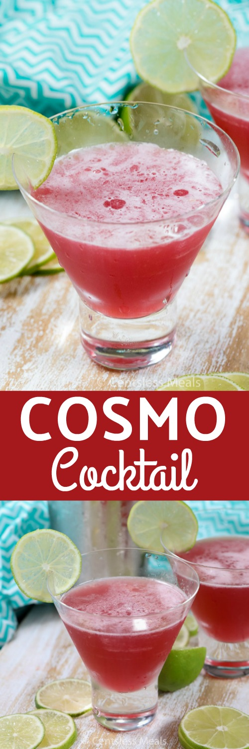 A Cosmo is a delicious cocktail that is both beautiful and easy to make. Cranberry juice, lime juice, triple sec, and vodka are shaken with ice and strained into a martini glass. What a great cocktail to enjoy with your friends! #centslessmeals #cosmococktail #easyrecipe #easycosmo #easycocktail #easybeverage #partycocktail #dinnercocktail