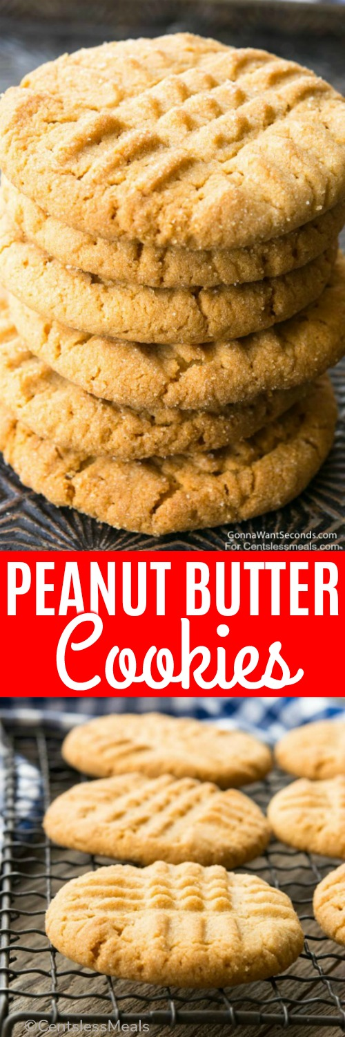 These Peanut Butter Cookies are made with only 8 simple ingredients. The dough is then balled, coated with additional sugar, and flattened with the trademark crosshatch. #centslessmeals #easyrecipe #cookierecipe #peanutbutter #easycookies #easysnack #lunchbox