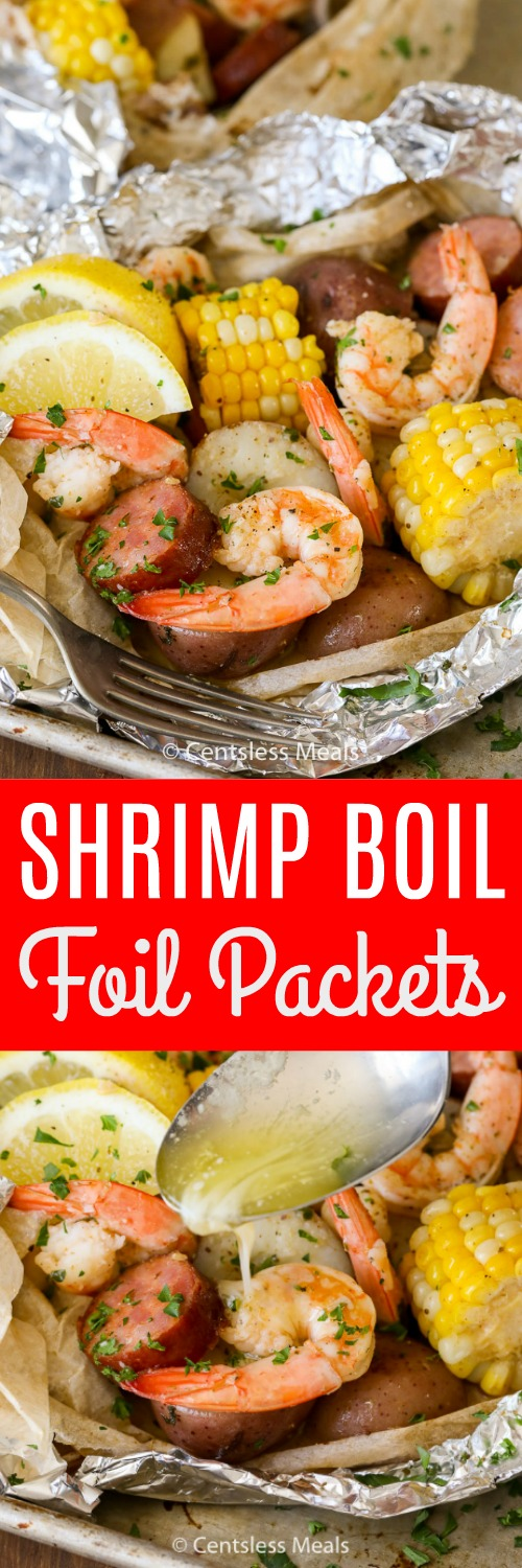 Shrimp Boil Foil Packs take all of the fun of a shrimp boil and turn them into perfectly portioned individual packs! Juicy shrimp, tender potatoes, corn, sausage, and of course butter are grilled in a foil pack to give you a fun dinner option that everyone will love! #centslessmeals #shrimpboil #foilpackets #easyrecipe #simpledinner #withpotaotes #withcorn #withlemon