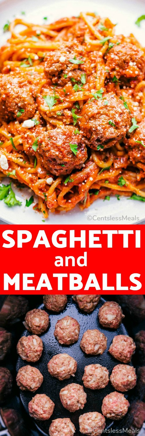 Crock Pot Spaghetti and Meatballs is one meal closer to making life simple and delicious. Each meatball is seasoned perfectly and topped with a quick and easy homemade sauce your whole family will love. #centslessmeals #easyrecipe #crockpot #slowcooker #withspaghetti #meatballs #pastarecipe #easydinner #beefrecipe #simplemeal #makeahead #kidfriendly