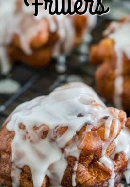 Quick and Easy Apple Fritters are sweet and cinnamon-y. Soft and tender like a pillow they are loaded with apple chucks and topped with a sugar glaze. #centslessmeals #applefritters #deepfried #easyrecipe #friedrecipe #easydessert #withapples #sugarglazed #cinnamonsprinkle