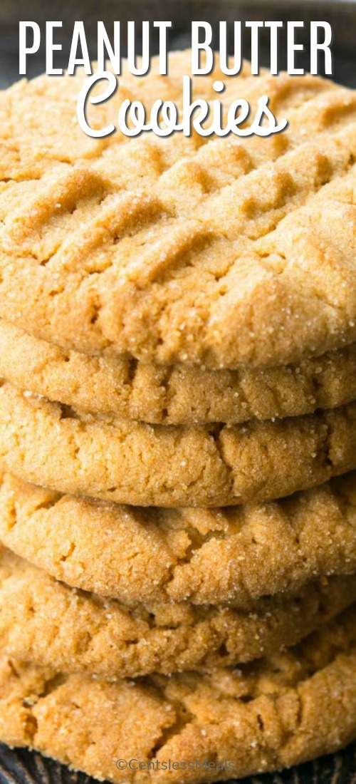 Peanut Butter Cookies are so soft and chewy! Made with simple ingredients and a hand held mixer, these cookies are not only easy to make but they are also delicious to eat! #centslessmeals #easyrecipe #cookierecipe #peanutbutter #easycookies #easysnack #lunchbox