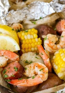 Shrimp Boil Foil Pack with a fork and writing