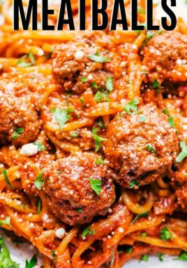 Spaghetti and meatballs on a plate with a title