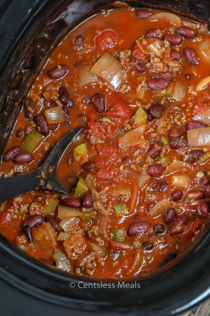 Slow Cooker Chili cooked and ready to serve right from the slow cooker
