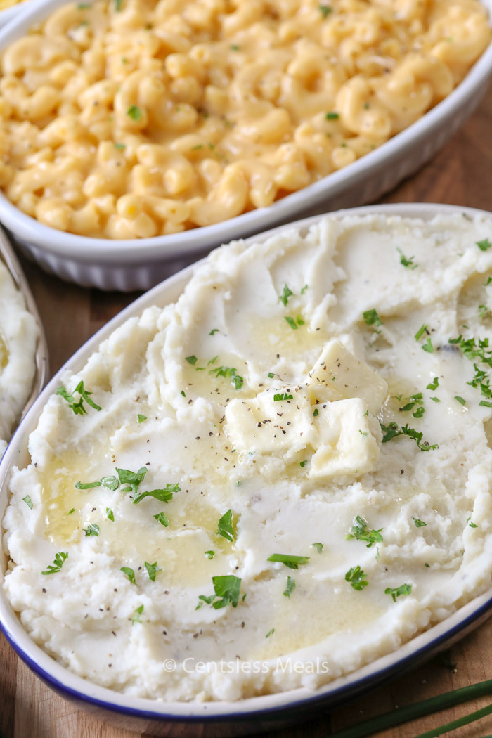holiday dinner planning made easy with prepared sides like this mac and cheese and mashed potatoes