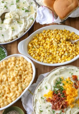 Holiday dinner dishes in white casserole dishes
