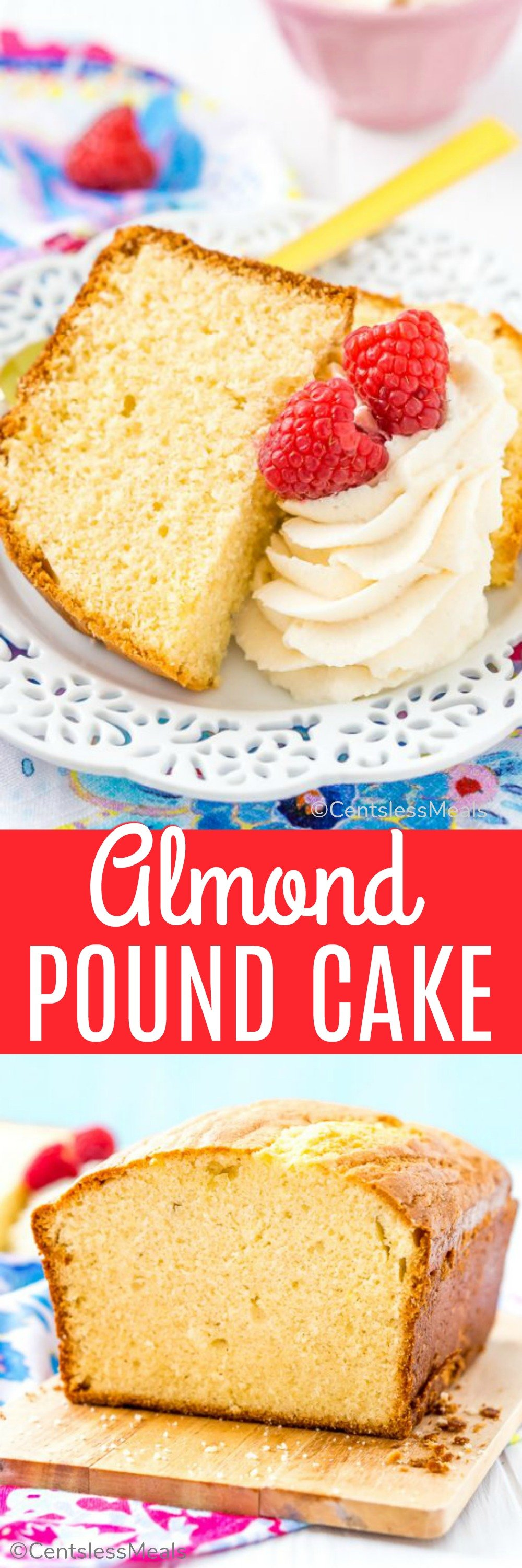 Almond Pound Cake is a classic dessert made with flour, butter, eggs, and sugar that is moist, dense, lightly sweet and totally irresistible! #centslessmeals #easyrecipe #poundcake #easycake #cakerecipes #classicdessert #oldfashioned #moistcake #easyloaf #bestrecipe #withglaze