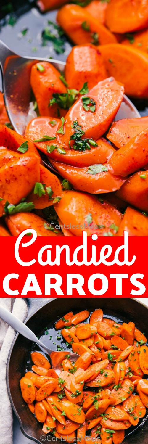 Candied Carrots begin with fresh cut carrots, sautéed in butter till soft. Add spiced rum, brown sugar and a bit of chili powder for zest and you have a quick and delicious side dish for your holiday table. #centslessmeals #easyrecipe #easyside #candiedcarrots #sidedish #skilletrecipe #holidaysrecipe #sauteedcarrots #cookedcarrots #vegetableside