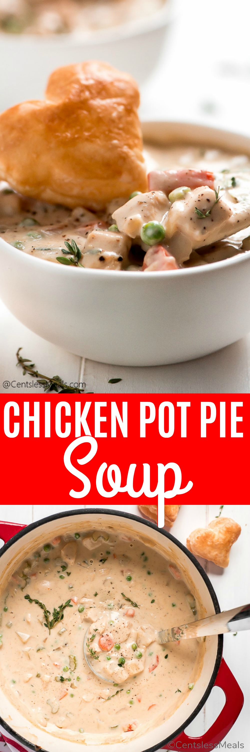 Chicken Pot Pie Soup is so easy to make or to heat up and enjoy as leftovers. Made with carrots, celery, onions, potatoes, and chicken all smothered in a creamy broth, it is a hearty soup that will satisfy even the biggest appetites. #centslessmeals #easysoup #easyrecipe #fallrecipes #chickenrecipe #souprecipe #creamysoup #withchicken #withvegetables #comfortfood
